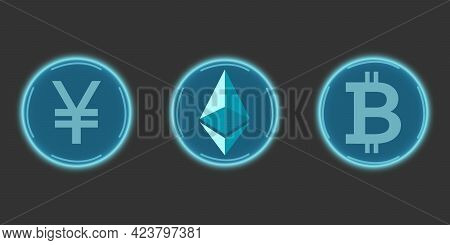 Cryptocurrency Chinese Yuan, Bitcoin And Ethereum In Blue On A Gray Background. Digital Currency Sym