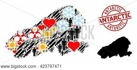 Textured Antarctic Stamp, And Heart Population Vaccine Mosaic Map Of Kahoolawe Island. Red Round Sta