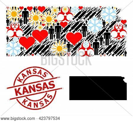 Scratched Kansas Stamp Seal, And Winter People Inoculation Collage Map Of Kansas State. Red Round St