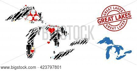 Grunge Great Lakes Badge, And Frost Customers Vaccine Mosaic Map Of Great Lakes. Red Round Badge Con