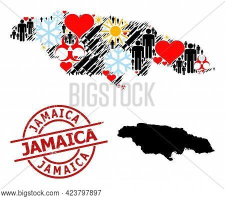 Rubber Jamaica Stamp, And Heart Men Inoculation Mosaic Map Of Jamaica. Red Round Stamp Has Jamaica T