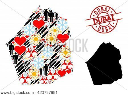 Rubber Dubai Stamp Seal, And Frost People Vaccine Mosaic Map Of Dubai Emirate. Red Round Stamp Seal