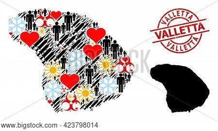 Textured Valletta Stamp, And Frost Humans Covid-2019 Treatment Mosaic Map Of Lanai Island. Red Round