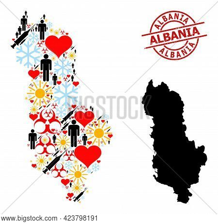 Rubber Albania Stamp, And Frost Demographics Syringe Collage Map Of Albania. Red Round Seal Has Alba