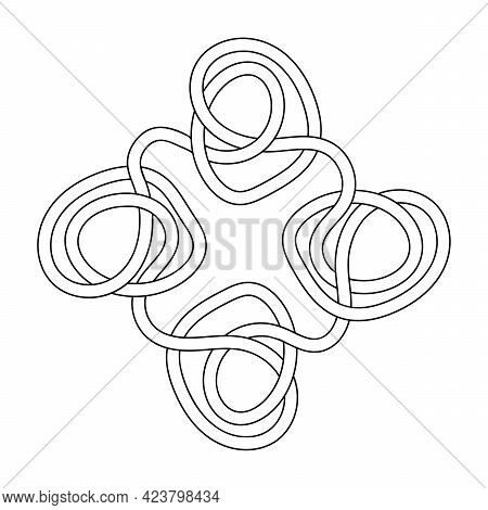 Abstract Intersecting Stripes, Ribbons, And A Maze. Coloring Book For Children And Adults.