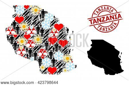 Distress Tanzania Stamp Seal, And Lovely Population Inoculation Collage Map Of Tanzania. Red Round S