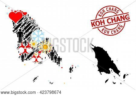 Textured Koh Chang Stamp Seal, And Spring Customers Syringe Mosaic Map Of Koh Chang. Red Round Badge