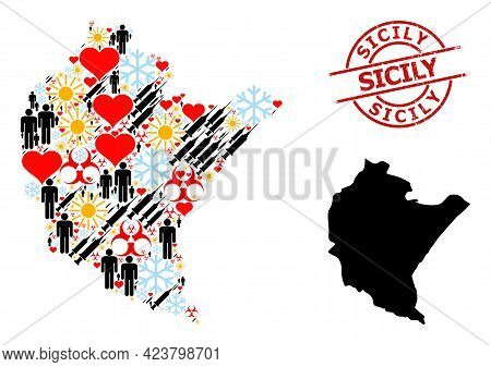 Grunge Sicily Stamp, And Sunny Men Infection Treatment Collage Map Of Podkarpackie Province. Red Rou