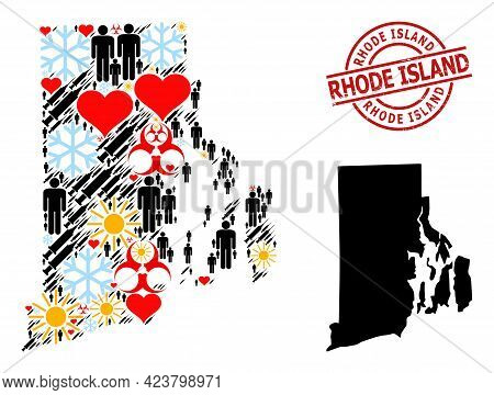 Rubber Rhode Island Stamp Seal, And Spring Man Covid-2019 Treatment Mosaic Map Of Rhode Island State