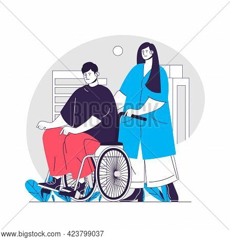 Medical Support Web Concept. Nurse Pushing Wheelchair With Disabled Person. Healthcare People Scene.
