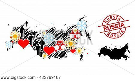 Rubber Russia Stamp Seal, And Heart Men Virus Therapy Collage Map Of Russia. Red Round Stamp Seal Ha