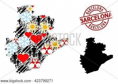 Textured Barcelona Stamp Seal, And Sunny Men Syringe Collage Map Of Barcelona Province. Red Round St