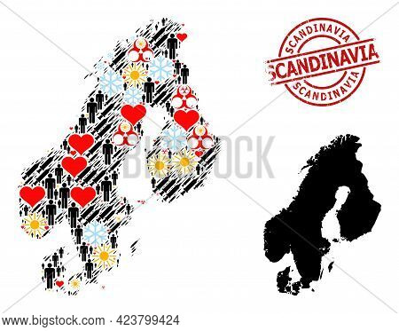 Grunge Scandinavia Badge, And Spring Population Vaccine Collage Map Of Scandinavia. Red Round Seal I