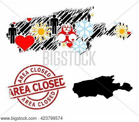 Grunge Area Closed Seal, And Frost Man Vaccine Mosaic Map Of Kangaroo Island. Red Round Seal Has Are