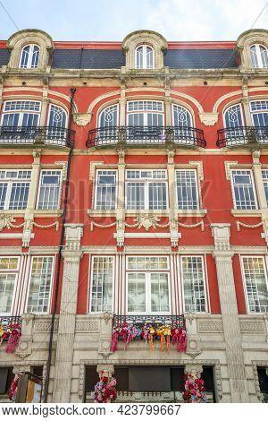 Beautiful Urban House In Vibrant Orange Color In Downtown Of Porto, Portugal