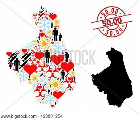 Distress 50.00 Stamp, And Spring Men Covid-2019 Treatment Mosaic Map Of Podlasie Province. Red Round