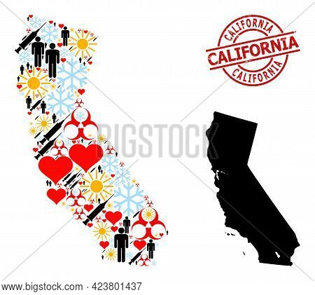 Distress California Badge, And Lovely Demographics Virus Therapy Mosaic Map Of California. Red Round