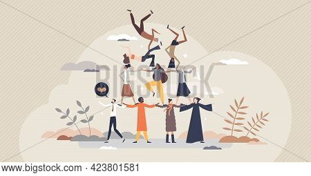 Diverse Community As United Various Social Ethnic Groups Tiny Person Concept. Pyramid With Different