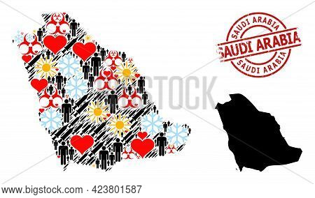 Grunge Saudi Arabia Stamp Seal, And Lovely Patients Infection Treatment Collage Map Of Saudi Arabia.