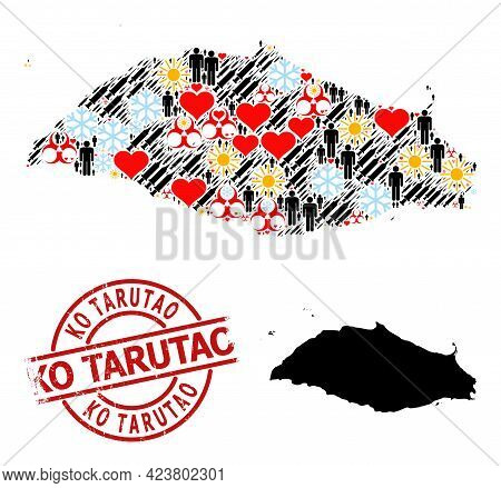 Grunge Ko Tarutao Stamp Seal, And Heart Demographics Infection Treatment Collage Map Of Isla La Tort