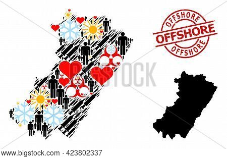 Rubber Offshore Stamp Seal, And Winter Man Infection Treatment Collage Map Of Castellon Province. Re