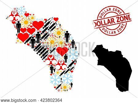 Textured Dollar Zone Stamp Seal, And Spring Man Inoculation Collage Map Of Argentina - La Rioja. Red