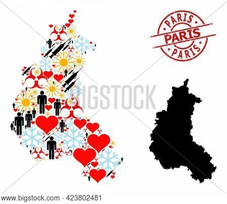 Scratched Paris Seal, And Spring Population Vaccine Collage Map Of Champagne Province. Red Round Sea
