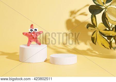 Empty Podium M Starfish In Sun Glasses On The Podium Under The Hot Sun. Creative Summer Concept For