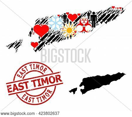 Grunge East Timor Stamp Seal, And Winter People Inoculation Collage Map Of East Timor. Red Round Sta