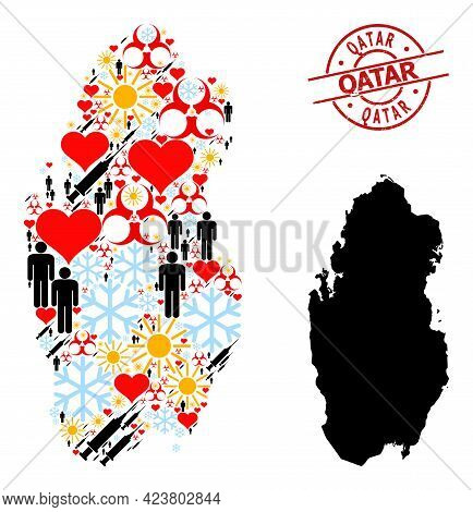Scratched Qatar Stamp Seal, And Heart Population Inoculation Collage Map Of Qatar. Red Round Stamp S