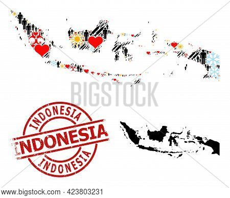 Scratched Indonesia Stamp Seal, And Sunny Customers Inoculation Mosaic Map Of Indonesia. Red Round S