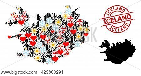 Grunge Iceland Stamp Seal, And Frost Customers Infection Treatment Collage Map Of Iceland. Red Round