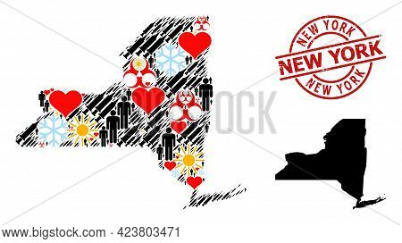 Rubber New York Stamp, And Sunny Patients Infection Treatment Mosaic Map Of New York State. Red Roun