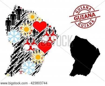 Grunge Guiana Seal, And Lovely People Infection Treatment Mosaic Map Of French Guiana. Red Round Sea