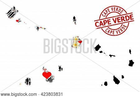 Distress Cape Verde Stamp Seal, And Frost Customers Syringe Collage Map Of Cape Verde Islands. Red R