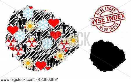 Scratched Nyse Index Stamp Seal, And Winter Patients Virus Therapy Mosaic Map Of La Gomera Island. R