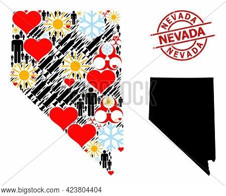 Grunge Nevada Stamp Seal, And Heart Humans Inoculation Mosaic Map Of Nevada State. Red Round Stamp H