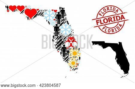 Distress Florida Seal, And Lovely Man Syringe Collage Map Of Florida State. Red Round Seal Has Flori