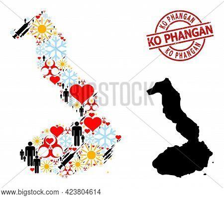 Distress Ko Phangan Stamp Seal, And Spring People Inoculation Mosaic Map Of Galapagos - Isabela Isla