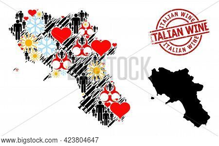 Distress Italian Wine Seal, And Heart People Infection Treatment Mosaic Map Of Campania Region. Red
