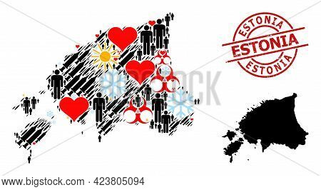 Rubber Estonia Stamp Seal, And Heart Men Infection Treatment Collage Map Of Estonia. Red Round Stamp