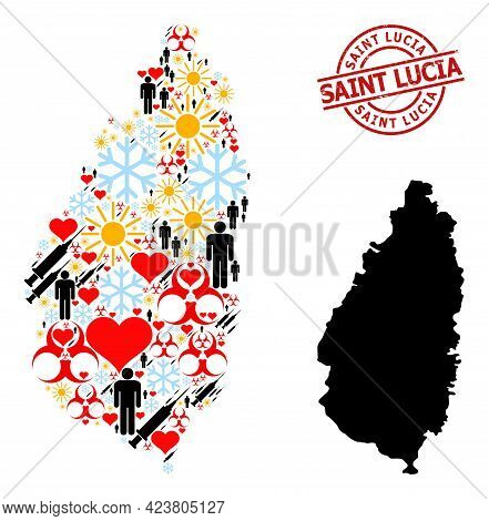 Distress Saint Lucia Stamp, And Lovely Man Infection Treatment Mosaic Map Of Saint Lucia Island. Red