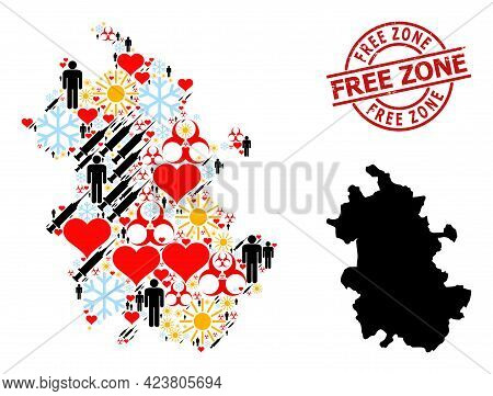 Distress Free Zone Stamp Seal, And Winter Patients Vaccine Mosaic Map Of Anhui Province. Red Round S