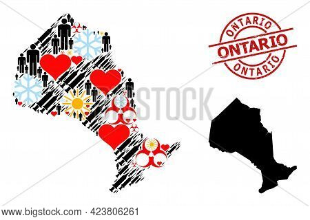 Scratched Ontario Stamp, And Winter Man Covid-2019 Treatment Collage Map Of Ontario Province. Red Ro