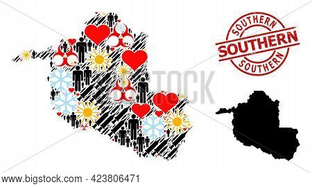 Distress Southern Badge, And Sunny Demographics Vaccine Collage Map Of Rondonia State. Red Round Bad