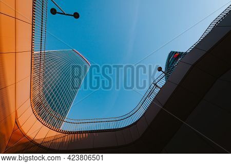 Milan, Italy - May 2021: Bottom View Of The Skyscrapers (three Towers) Of The Citylife District Of M
