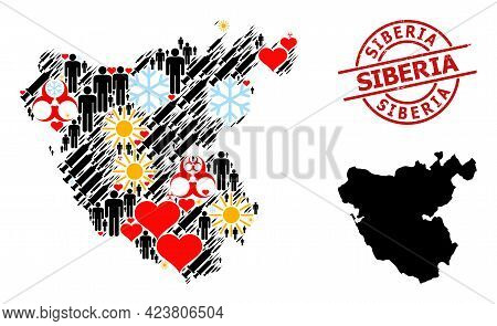 Rubber Siberia Badge, And Heart People Infection Treatment Mosaic Map Of Cadiz Province. Red Round B
