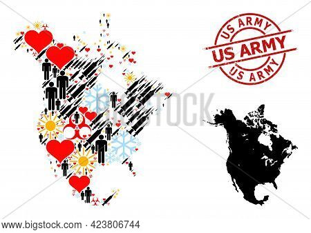 Grunge Us Army Stamp, And Heart Patients Vaccine Collage Map Of North America. Red Round Stamp Conta