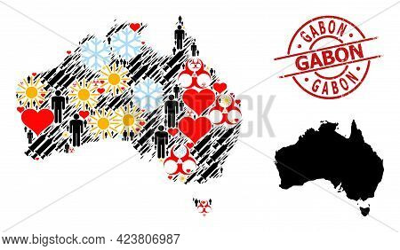 Rubber Gabon Badge, And Winter Humans Covid-2019 Treatment Collage Map Of Australia. Red Round Badge