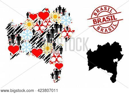 Scratched Brasil Stamp Seal, And Lovely Man Virus Therapy Collage Map Of Bahia State. Red Round Stam